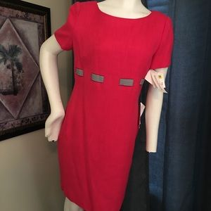 Maggy London, Pink Dress with Gingham Belt Detail